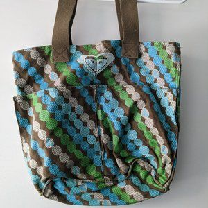 Roxy Beach Tote Bag with Pockets Blue Olive Green